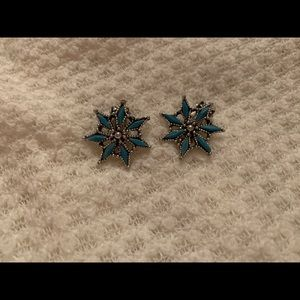 Vintage Faux Turquoise Clip Earrings